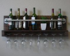 Geometric Parallel 4 Bottle Wine Rack with 4 Glass by KeoDecor