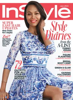 Zoe Saldana in Dolce & Gabbana on the July 2015 Cover of InStyle Magazine