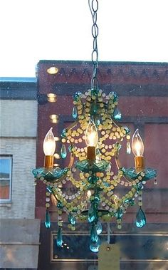 I love the colors of this chandelier. Mosiac Chandelier by Canopy Designs NY. Love the blue, could remake an old light fixture. Outdoor Chandelier, Beaded Chandelier, Glass Chandelier, Chandelier Lighting, Small Chandeliers, Unique Chandelier, Turquoise Chandelier, Coastal Chandelier, Iron Chandeliers