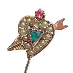 Victorian Valentine - Heart and Arrow Stick Pin - Gold w Enamel Natural Pearls + Red Green Cut Class - Original Box - Edwardian c. 1800s