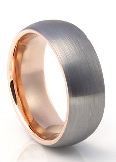 TUR 605 - 8mm Men's Tungsten Carbide Wedding Ring with Rose Gold Inlay
