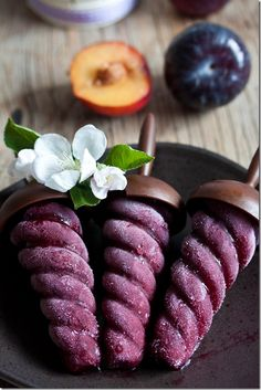 Plum sorbet and red wine pops...how beautiful!