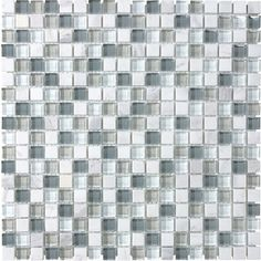 $10.98 from Lowe's 12-in x 12-in Venatino White Gray Tones Stone and Glass Wall Tile