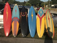#My vintage lightning bolt collection so far always looking to buy or trade for any surfboards from the 80s or older so please hit me up at mums7873@aol.com if you happen to have any especially looking for a Christian Fletcher or stussy with color but pretty much open to anything thanks #lightningboltsurfboards #vintagesurfboards #gerrylopez #tomeberly #80s #boardporn