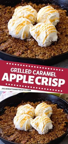 Delight your family with this grilled caramel apple crisp recipe made with tender, juicy apples with caramel topped with butter, oatmeal, and ice cream! Grilled Caramel Apple Crisp is the perfect way to try making a dessert on the grill. Save this pin! Grilled Desserts, Easy Desserts, Dessert Recipes, Baking Desserts, Summer Desserts, Dessert Ideas, Meals Kids Love, Easy Family Meals, Caramel Apple Crisp