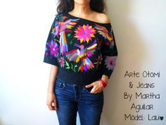 """MADE TO ORDER Beautiful Otomi Blouse Hand embroidered by women. Model """"M'üi"""" or """"Life"""" in Otomí Mexican Fashion, Mexican Style, Estilo Folk, Mode Jeans, Mexican Dresses, Outfit Trends, Models, Embroidered Blouse, Ethical Fashion"""