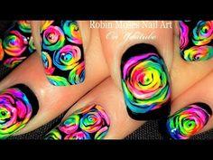 DIY Neon Rainbow Rose Nails! | Kaleidoscope Moses Roses Nail Art Tutorial - YouTube