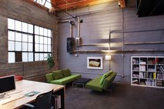 Den/Home Office Ideas * Design and Decor * - Works Designers Industrial Office Design Ideas Office Studio Industrial Office Space, Industrial House, Modern Industrial, Industrial Flooring, Office Interior Design, Office Interiors, Interior And Exterior, Exterior Design, Office Decor
