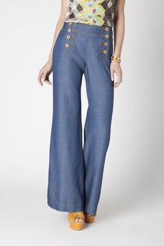 Chambray Wide-Legs - Anthropologie.com