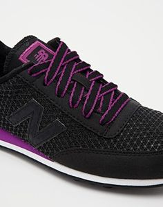Enlarge New Balance 410 Microfibre Black/Purple Trainers