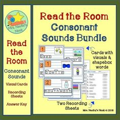 This is a fun way to have students recognize and learn to distinguish where they hear 20 different consonant sounds (at the beginning, middle or end of a word).  Used as a literacy station, printed cards on cardstock can be placed around the room at students height.