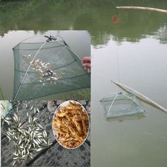 """Specifications: Type: Fishing Umbrella Dip Net Material: Nylon, Metal, Plastic Main Color: Green Weight: 126g Closed Length: 60cm / 24"""" Open Size: 60 x 60 x 20c"""