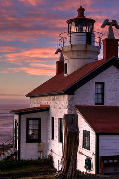 Sunrise in Crescent City CA; The Battery Point Lighthouse is fascinating! During low-tide, you can walk through the shallows and up to the the light for spectacular views!