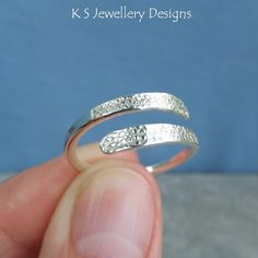 Wraparound Sterling Silver Ring - BUBBLES TEXTURE - Adjustable Open Band Ring £25.00