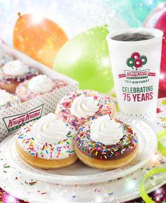 Check out our new birthday doughnuts. Available at participating US and Canada Krispy Kreme shops only.
