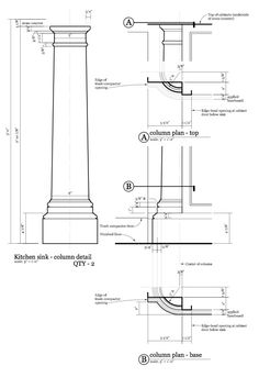 Kitchen update Colonial, Drawing Interior, Technical Drawings, Updated Kitchen, Columns, February, Archive, Diagram, Architecture