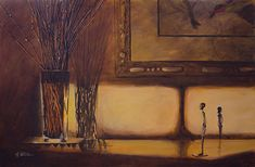 """Willow Twigs at Sunset by Nancee Jean Busse Acrylic ~ 24"""" x 36""""Still Life Fine Art Painting, Interior View """"WILLOW TWIGS AT SUNSET"""" by Painter of the American West Nancee Jean Busse"""
