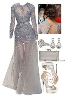 """""""Untitled #4469"""" by natalyasidunova ❤ liked on Polyvore featuring Elie Saab, Jimmy Choo, La Regale and Kenneth Jay Lane"""