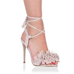 Silvia Fringed Heels in Nude Faux Suede