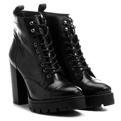 Bota Santa Lolla Coturno Salto Grosso Tratorado Preto | Zattini High Boots, High Heels, Heeled Boots, Shoe Boots, Dream Shoes, Winter Shoes, Fashion Flats, Vintage Shoes, Shoe Brands