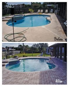 Look at how fresh this outdoor space has become by adding new paver decking to the pool area. Here at H & H Custom Pools, we can show you all of your decking options and help you select just the right one for your home. Paver Deck, Decking, Above Ground Pool, In Ground Pools, Pool Remodel, Palm Beach Fl, Custom Pools, Splish Splash, Outdoor Living