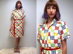 1970s Dress PATCHWORK DRESS RAINBOW Dress 70s Shirt Dress Casual Day Dress 70s Dress 70s Cotton Dress Large Dress 70s Midi Dress Shift Dress