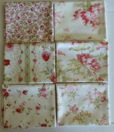 Cotton Fabric, Quilt Fabric, Home Decor, Fat Quarter Bundle of 6, Floral Group #1, Fast Shipping, FQ190