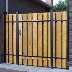 x 6 ft. Wood and Aluminum Fence Gate Kit Aluminum Fence Gate, Metal Fence Gates, Steel Fence, Fence Doors, Wooden Gates, Aluminum Patio, Building A Gate, Privacy Fence Designs, Pallet Privacy Fences