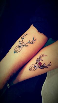 ▷ 1001 + ideas for matching couple tattoos to help you decla.- ▷ 1001 + ideas for matching couple tattoos to help you declare your love deer and stag, geometric design, matching tattoos, forearm tattoos - Tattoo Girls, Girl Tattoos, Tattoos For Women, Tatoos, Cross Tattoos, Men Tattoos, Diy Tattoo, Tattoo Art, Plume Tattoo