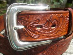 Western Embossed Leather Belt in rich Tan Tones w/ Siver Rope Edged Buckle