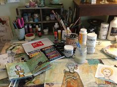 Not my studio but sure looks like a day of my doing one of my Journals or Mixed Media pieces...cannot wait till studio all together!