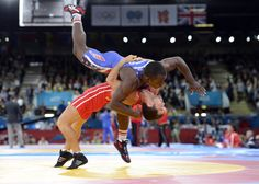 http://www.MilitaryGradeNutritionals.com/blog   London, United Kingdom; Spenser Mango (USA), in blue, competes against Rovshan Bayramov (AZE) in the men's wrestling Greco-Roman 55kg 1/8 finals during the London 2012 Olympic Games at ExCeL.