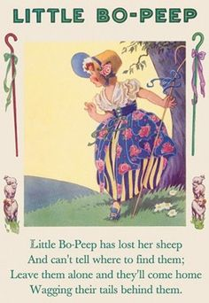"""""""Little Bo Peep"""" or """"Little Bo Peep has lost her sheep"""" is a popular English language nursery rhyme. The earliest record of this rhyme is in a manuscript of around Vintage Children's Books, Vintage Cards, Little Bo Peep, Poster Prints, Art Prints, Poster Wall, Rhymes For Kids, Vintage Nursery, Nursery Rhymes"""