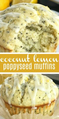 Coconut Lemon Poppyseed muffins with a lemon glaze. These muffins are filled with coconut oil, coconut extract, fresh lemon zest & fresh lemon juice! Coconut Muffins, Lemon Poppyseed Muffins, Lemon Muffins, Köstliche Desserts, Delicious Desserts, Dessert Recipes, Yummy Food, Muffin Recipes, Brunch Recipes