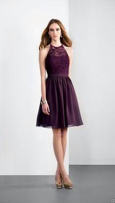 Hot Sale Sleeveless Halter Neck Knee Length Bridesmaid Dress