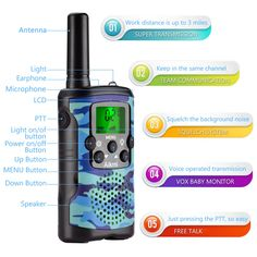 Walki-Talki with Clip Mic PTT 22 Channels for Kids as Birthday Christmas Xmas Gifts T-388 Blue Bestcompact Walky-Talky with Flashlight for Adults Boys Bobela Walkie-Talkies 4 Pack for Men Camping
