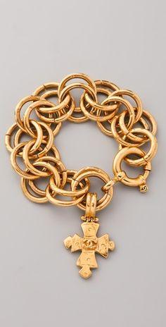 WGACA Vintage Vintage Chanel Cross Charm Bracelet