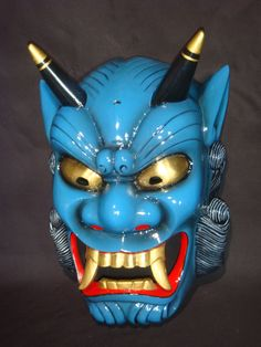 """Japanese Rare Blue Oni Mask"" ~ by Unknown (they are usually red). Mascara Oni, Japanese Demon Mask, Ronin Samurai, Oni Demon, Mask Tattoo, Art Japonais, Cool Masks, Blue Devil, Masks Art"