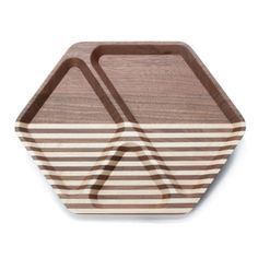 Solid American Walnut with Maple stripes, finished with a durable, low-sheen varnish. Three geometric compartments to accommodate endless combinations of accessories in your home or office.Made in the USA out of sustainably-harvested hardwoods. x tall American Walnut, Wash Bags, Home Accents, Hardwood, Artisan, Cleaning, Accessories, Unicorn, Design