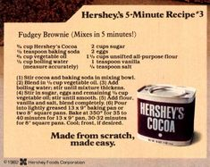Hershey's Best Brownies: The classic fudgy recipe made with cocoa - Click Americana Cocoa Powder Recipes, Cocoa Recipes, Hot Chocolate Recipes, Chocolate Treats, Brownie Recipes, Sweet Recipes, Dessert Recipes, Desserts, Hershey's Cocoa Brownie Recipe