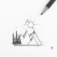 geometric drawing tattoo mountain mountains instagram simple triangle sketch nature abstract compass