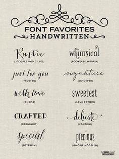 Font Favorites - Handwritten Fonts by Elegance and Enchantment by jeanette