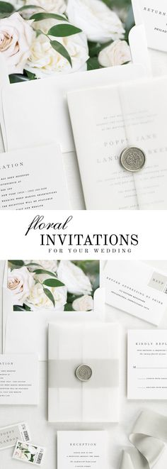 The Poppy wedding invitation suite is paired with Clara florals. Clara features sand dollar roses, white garden roses, and Italian ruscus. #weddinginvitation