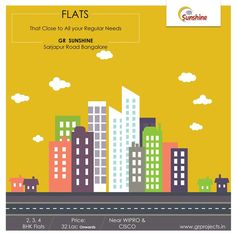 Flats that close to all your Regular Needs - GR sunshine  GR Sunshine is ongoing Project of GR Projects In #Sarjapur Road, Which is close Proximity to #WIPRO Corporate Office. Which Come with 1,2,3 BHK Flats.  #realestatebangalore #flatsinbangalore  To Know more (Or) Booking: Visit: http://grprojects.in/apartments/sunshine/ (Or) Call: +91 8880681616