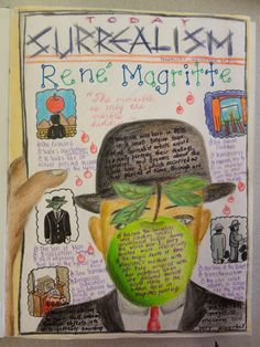 Art Mash: Artist Pages - Grade 9 Magritte Art History Lessons, Art Lessons, Art Education Lessons, Middle School Art, Art School, Art Doodle, Classe D'art, Sketchbook Assignments, High School Art Projects