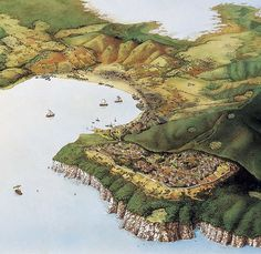 Reconstruction of the Gulf of Baratti (near Tuscany) in the 6th Century BC ~ At this time the city of Populonia had a wall surrounding a lage part of the promontory. At the highest point is the Acropolis.