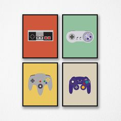 Retro Gaming Art - Set of Four Video Game Controller Prints. Frames Not Included. This listing is fo