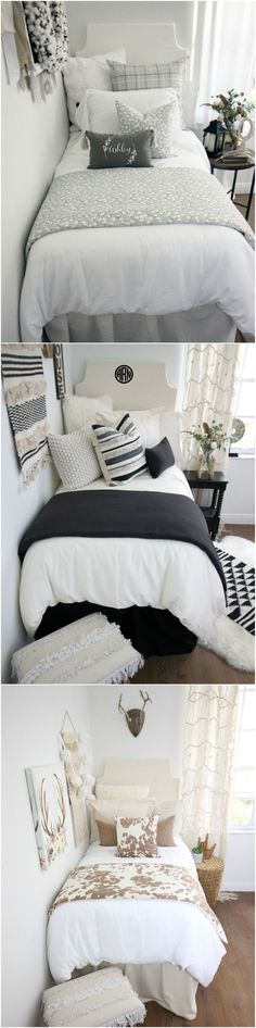 """Decorating a dorm room? Check out Decor 2 Ur Door for tons of college dorm room inspiration - from boho dorm room decor to preppy Lilly dorm rooms. Get the """"Fixer Upper"""" farmhouse dorm room look with Magnolia Homes pillows and rugs or take a walk on the wild side with this blush and cheetah print dorm room. There are hundreds of dorm room bedding sets to fit your unique personality and style. We adore these custom-made designer headboards for dorm rooms, extended-length dorm room bed skirts"""