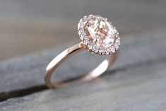 14k Rose Gold Oval Morganite Diamond Halo Engagement Ring Vintage Crown Dainty
