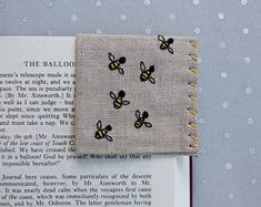 Hand Embroidered Linen Corner Bookmark - Swarm of Bees